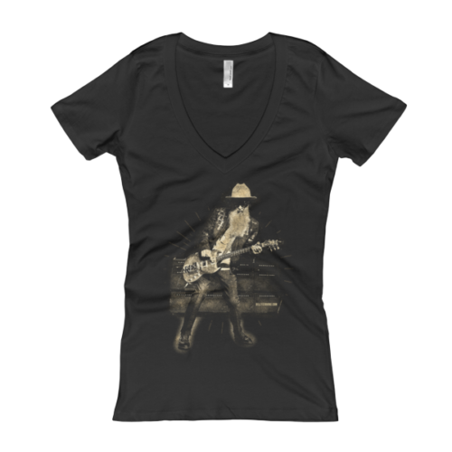 Billy F Gibbons Live III Women's V-Neck T-shirt