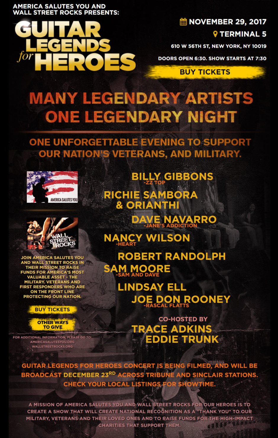 Nyc Wednesday November 29 Guitar Legends For Heroes Show Billy